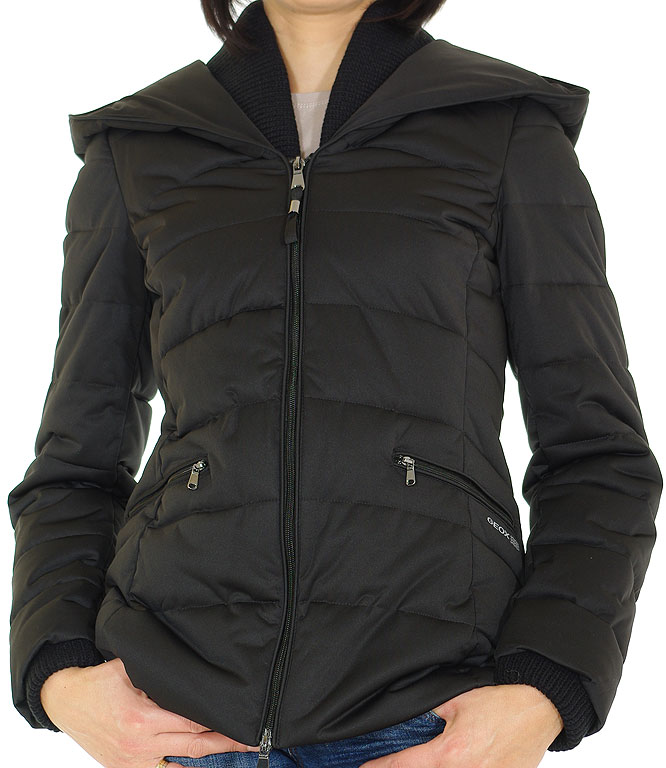 GEOX W3428F WOMAN JACKET STRETCH KNITSHELL POL. BLACK kurtka