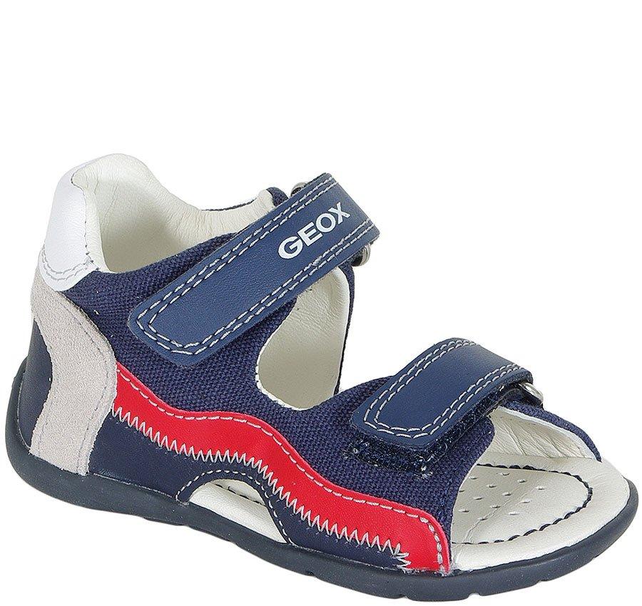 GEOX KAYTAN B sandały CANVAS+NAPPA NAVY/RED