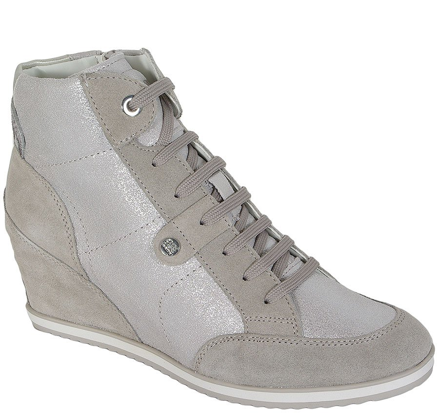 GEOX ILLUSION A SMO.LEA+SUEDE WHITE/LT.GRAY SNEAKERS