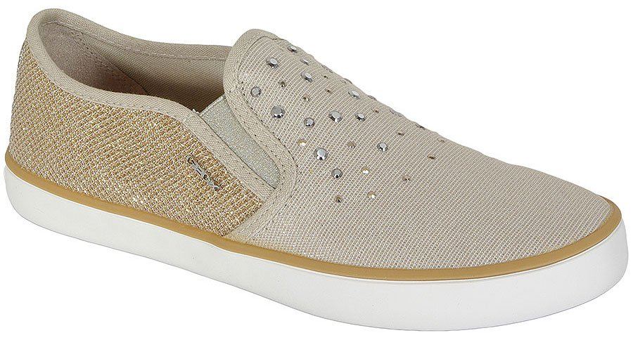 GEOX KIWI D GLIT CAN+SHI TEX BEIGE/GOLD sneakers
