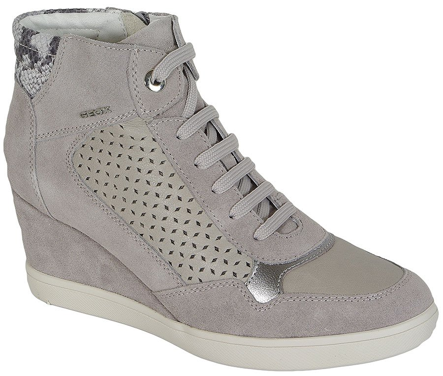 GEOX ELENI A SUEDE+SMO.LEA LT GREY SNEAKERS
