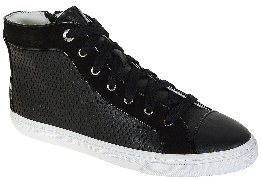GEOX NEW CLUB B SMO.LEA+GOA.SUEDE BLACK SNEAKERS