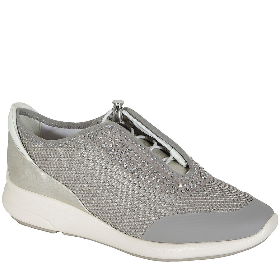 GEOX Ophira E Mesh+Synt+Prl Synt Lea Lt Grey/Silver sneakers