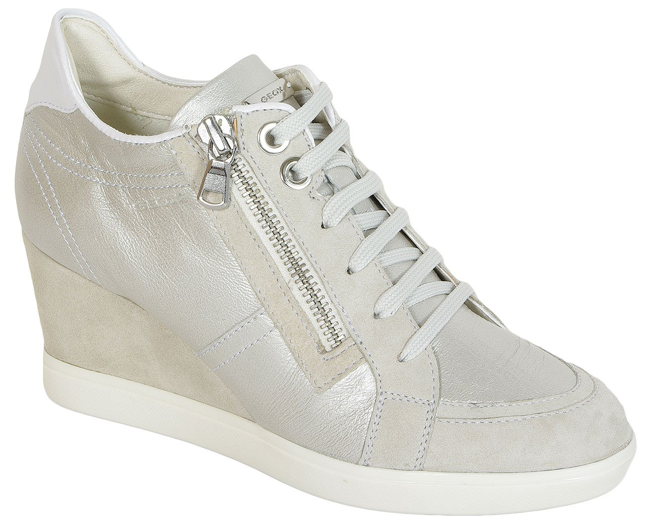 GEOX Eleni A Prl Goa+Goa Suede Platinum/Ivory sneakers