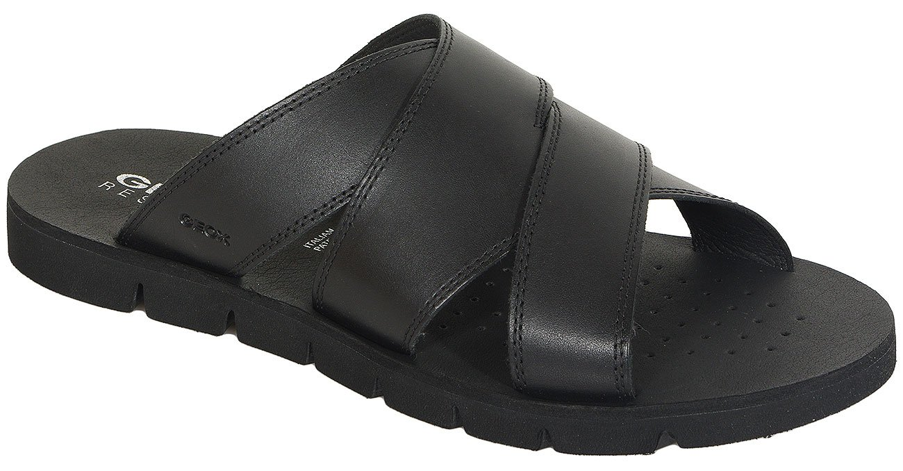GEOX Glen F klapki smooth leather black
