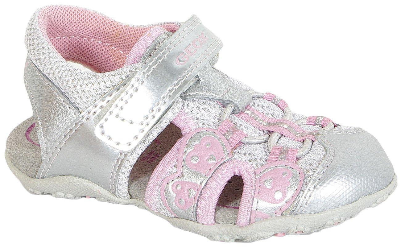 GEOX Roxanne B Syn Lea+Mesh Silver sandały