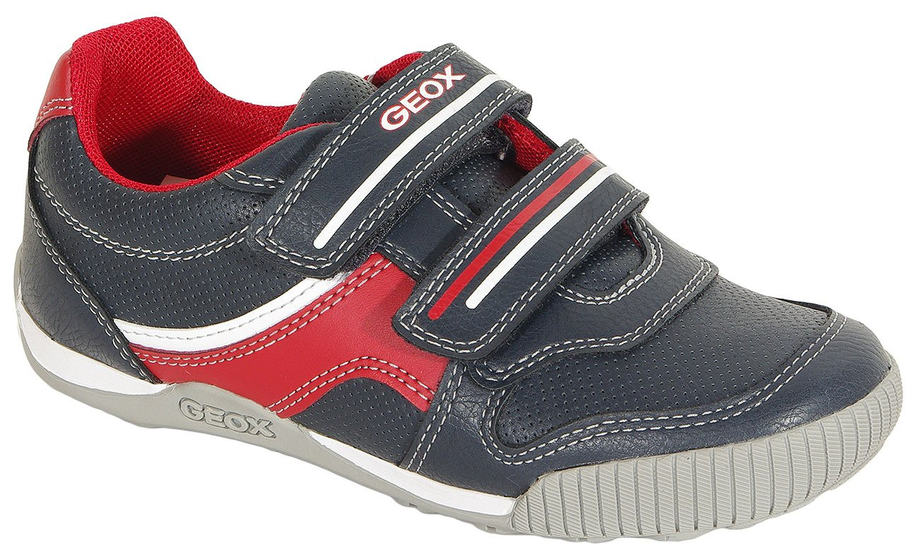 GEOX Nekkar A sneakers wax. synt. leather navy/red