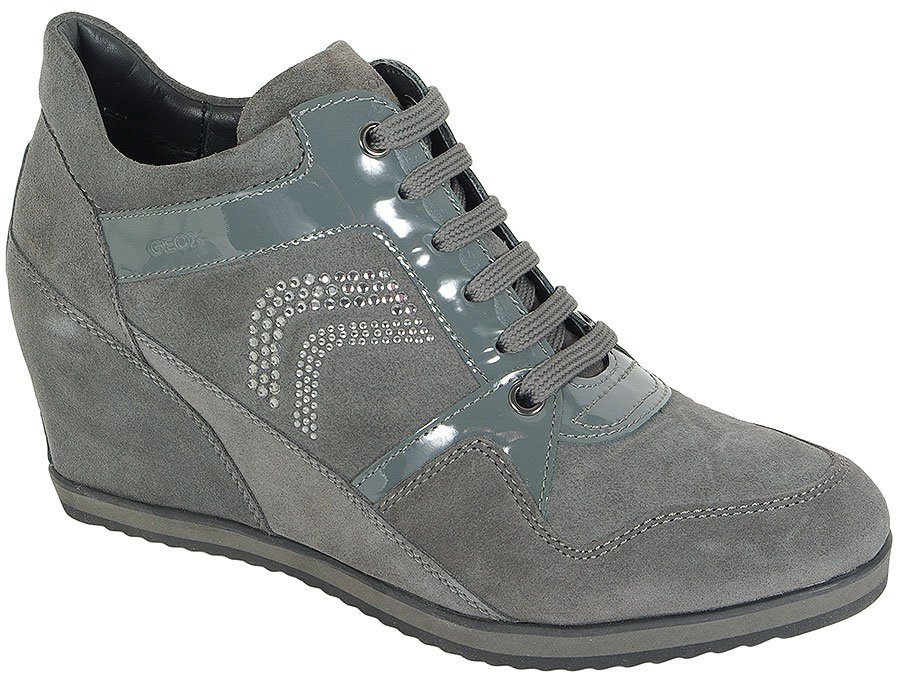 GEOX ILLUSION A SUEDE+PAT LEA GREY SNEAKERS