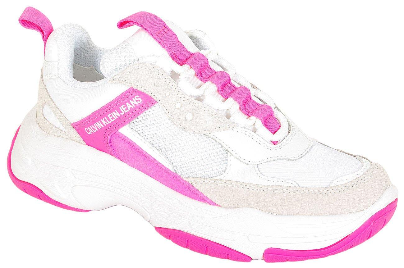 Calvin Klein Jeans Maya sneakers low top lwhite pink fluo