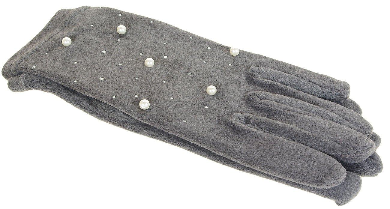 Hat You 1208 rękawiczki z perełkami grigio