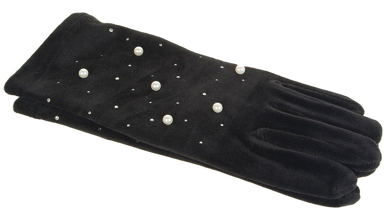 Hat You 1208 rękawiczki z perełkami nero