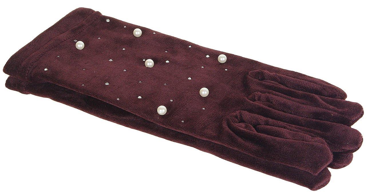 Hat You 1208 rękawiczki z perełkami  bordeaux