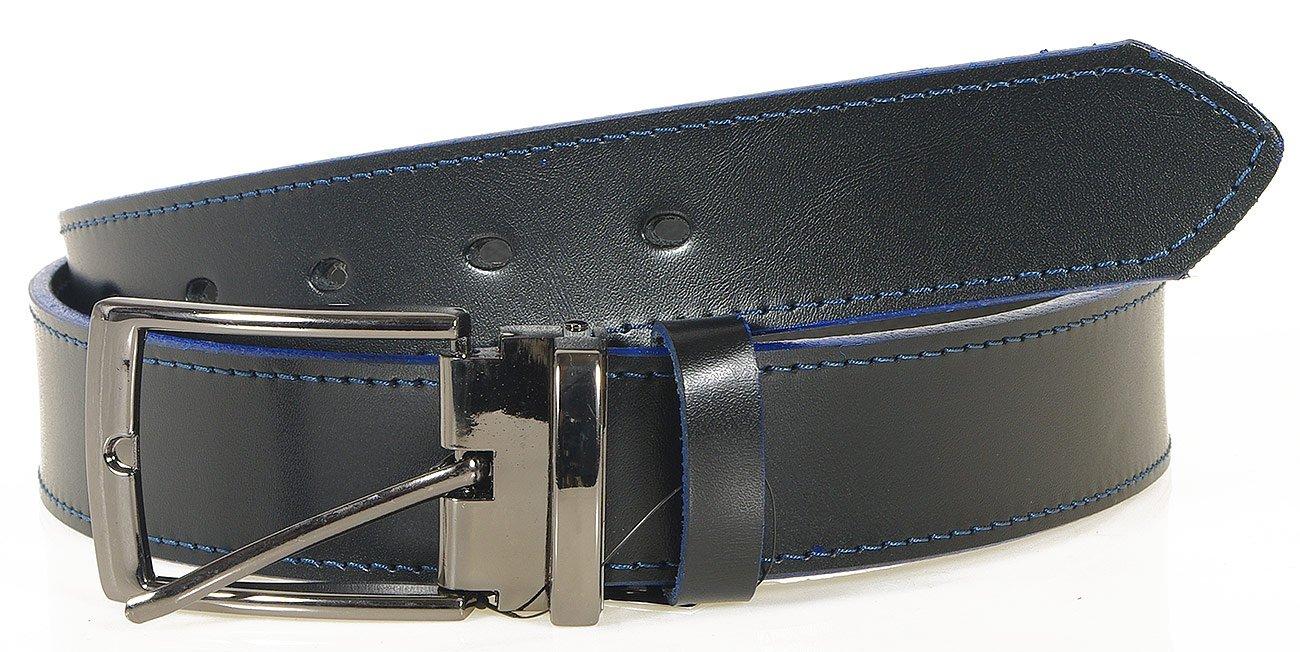 Massimo M181030 pasek męski czarny/niebieski zamsz