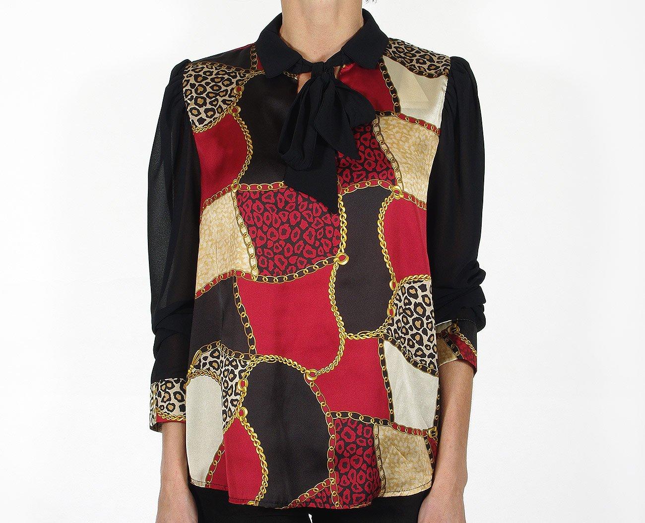 Rinascimento 88979 bluzka blusa nero/rosso