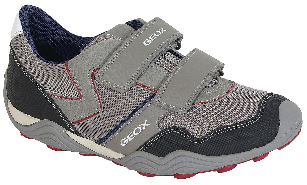 GEOX Arno A J Mesh+GBK Suede Grey/Dk Red buty sportowe