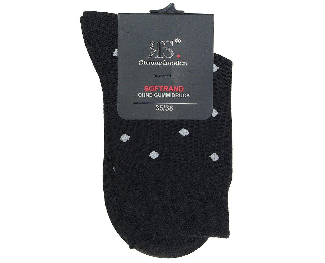 RS 11943 skarpety kropki czarny/biały