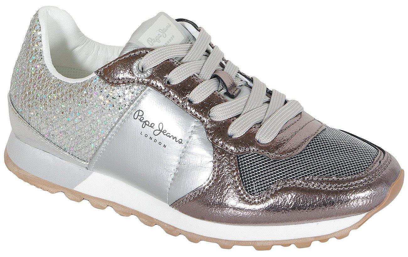 Pepe Jeans Verona W blom sneakers silver