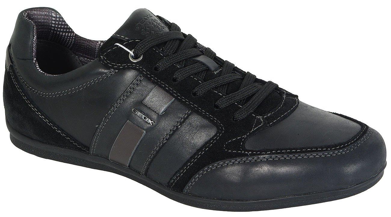 GEOX Houston A Waxed Lea+Suede Black sneakers