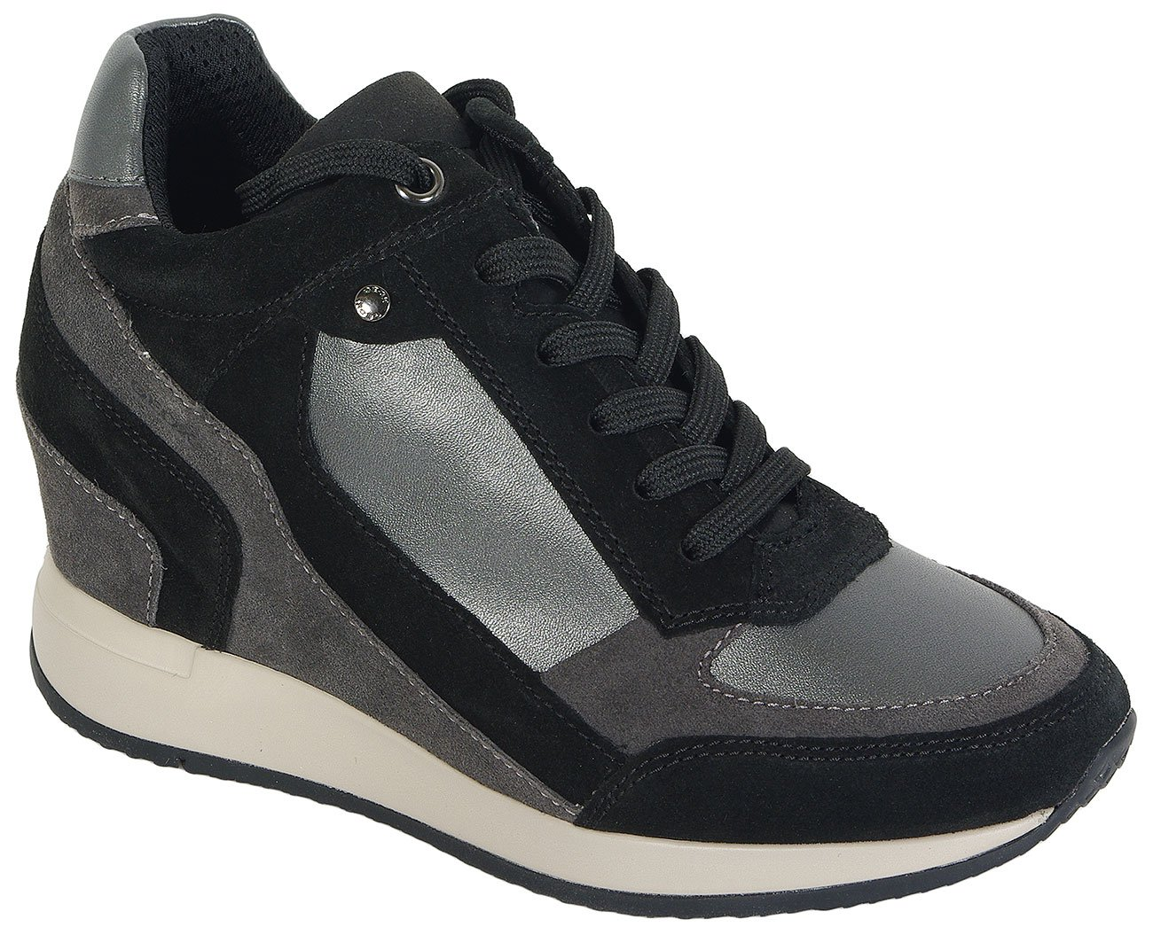 GEOX NYDAME A GBK PERL+SCAM-GRAPHITE/BLACK SNEAKERS