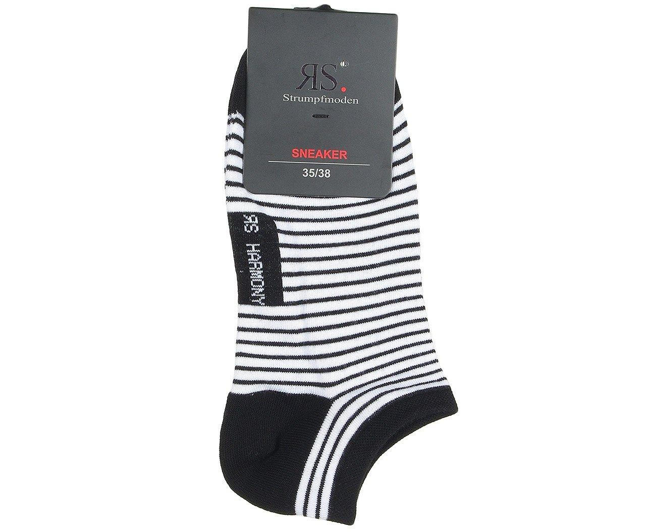 RS 15318 Sneaker Paski stopki damskie biały/czarny