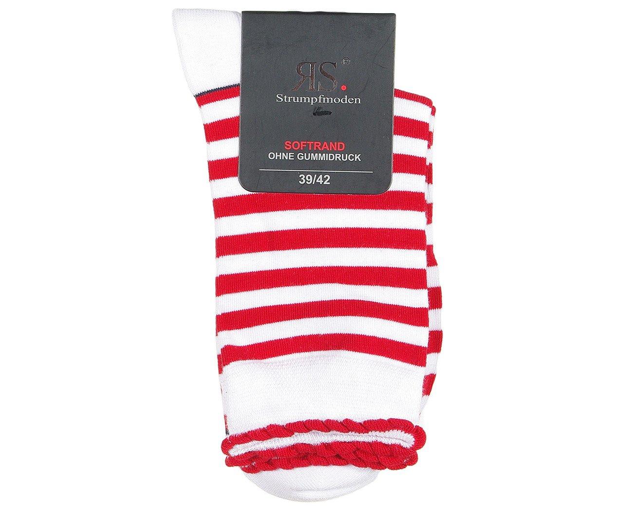 RS 11910 Paski skarpety damskie czerwony/biały