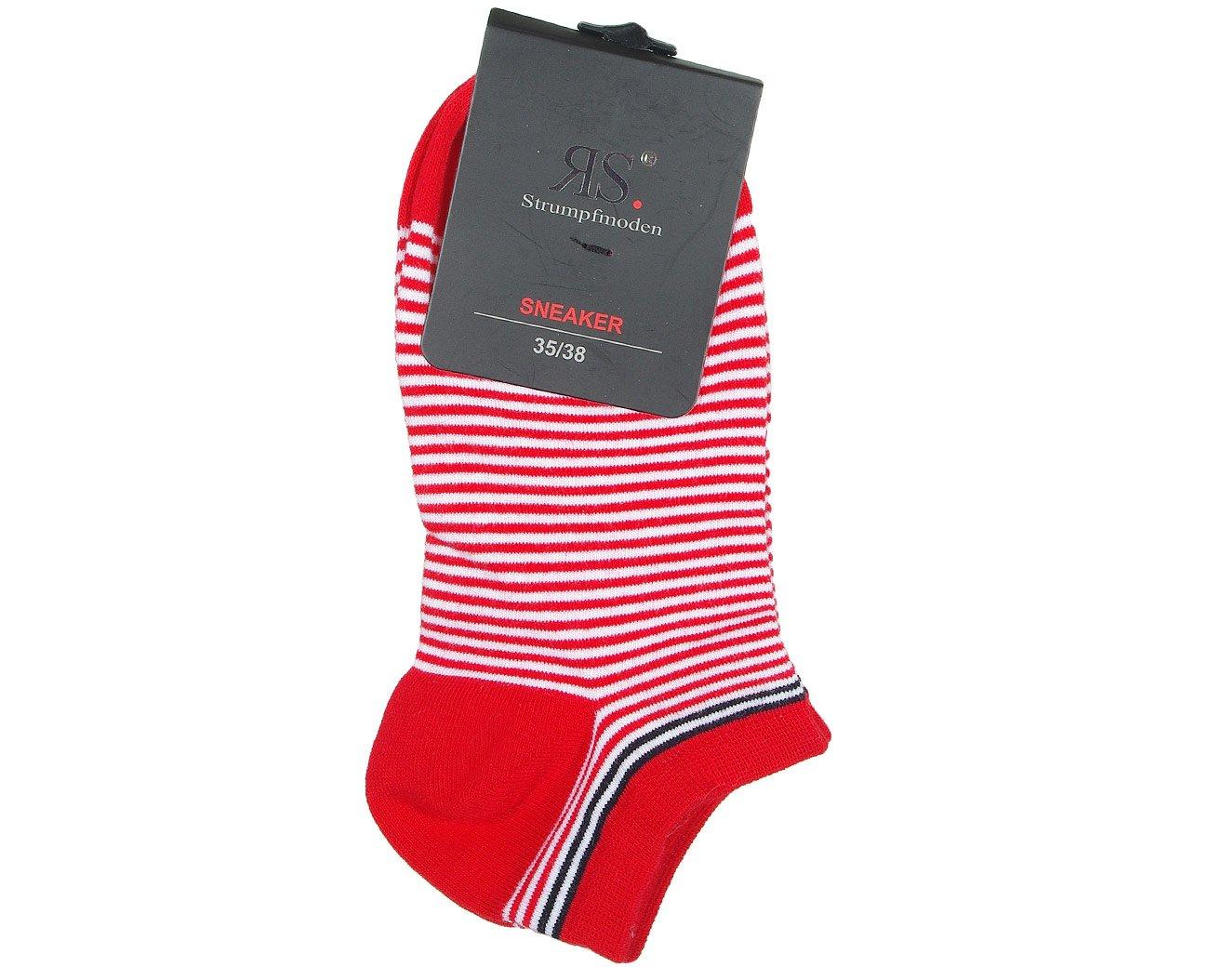 RS 15317 Sneaker Linie stopki damskie czerwony/biały