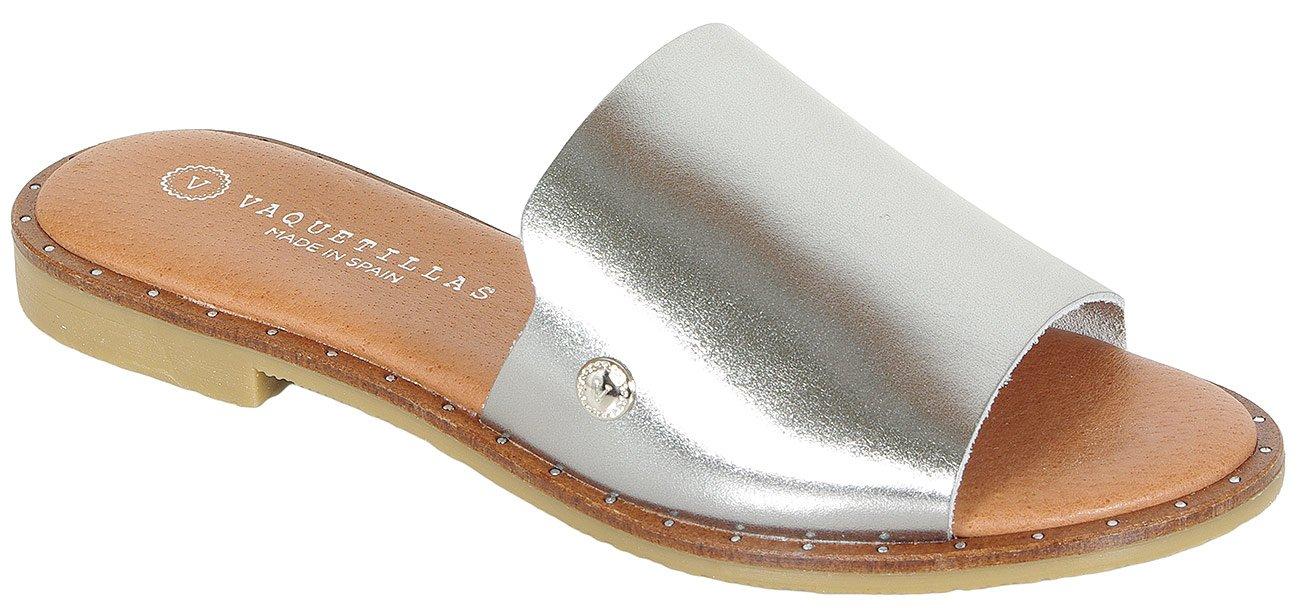 Vaquetillas Orgaz klapki vachetta metalizado plomo