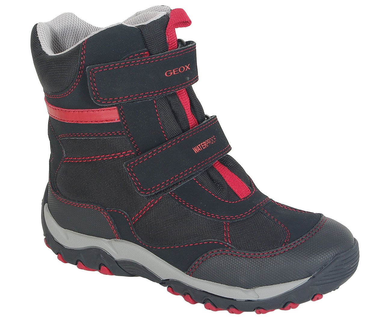 GEOX Alaska Waterproof A Tex+Dbk Black/Dk Red trzewiki