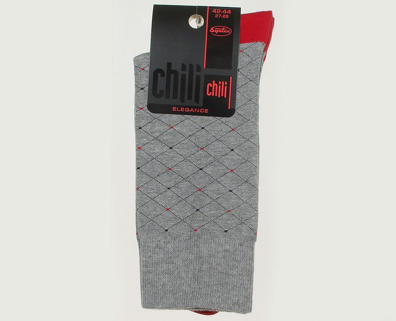 Chili Elegance Siatka skarpety męskie grey/red
