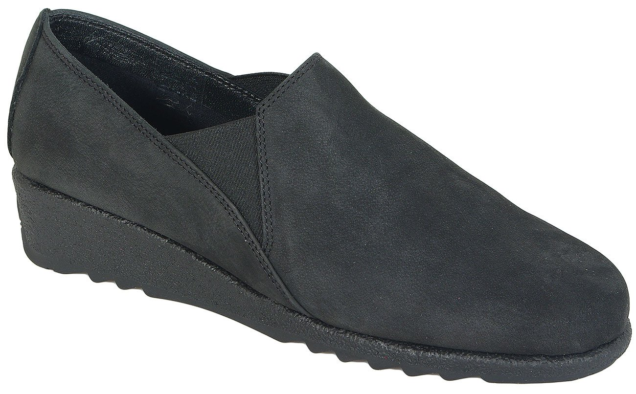 AEROBICS LONDON NUBUCK BLACK SLIP ON