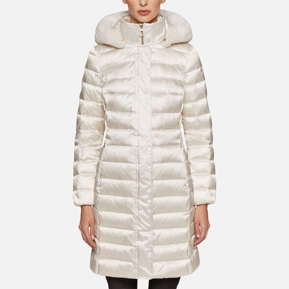 GEOX Bettanie Hood Long kurtka butter cream
